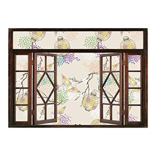 Peel and Stick Fabric Illusion 3D Wall Decal Photo Sticker/Lantern,Colorful Origami Cranes Paper Lanterns with Branches and Flowers Culture Decorative,Lilac Pink Beige Yellow/Wall Sticker Mural ()