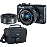 Canon EOS M100 Black Dual Lens Bundle with EF-M 15-45mm f/3.5-6.3 IS STM & 22mm f/2 STM Lenses PLUS DSLR Camera Accessory Bag