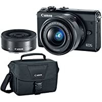 Canon EOS M100 Black Dual Lens Bundle with EF-M 15-45mm f/3.5-6.3 IS STM & 22mm f/2 STM Lenses PLUS DSLR Camera Accessory Bag