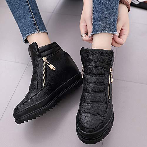 Paolian Otoño Señora Cuero Escolares Talla Blanda Negro Para Botas Cuña Clásicos Casual Dama Mujer Calzado Zapatos Grande Moda Botines Suela Nrgro Plataforma Invierno De Zapatillas qOXxwA