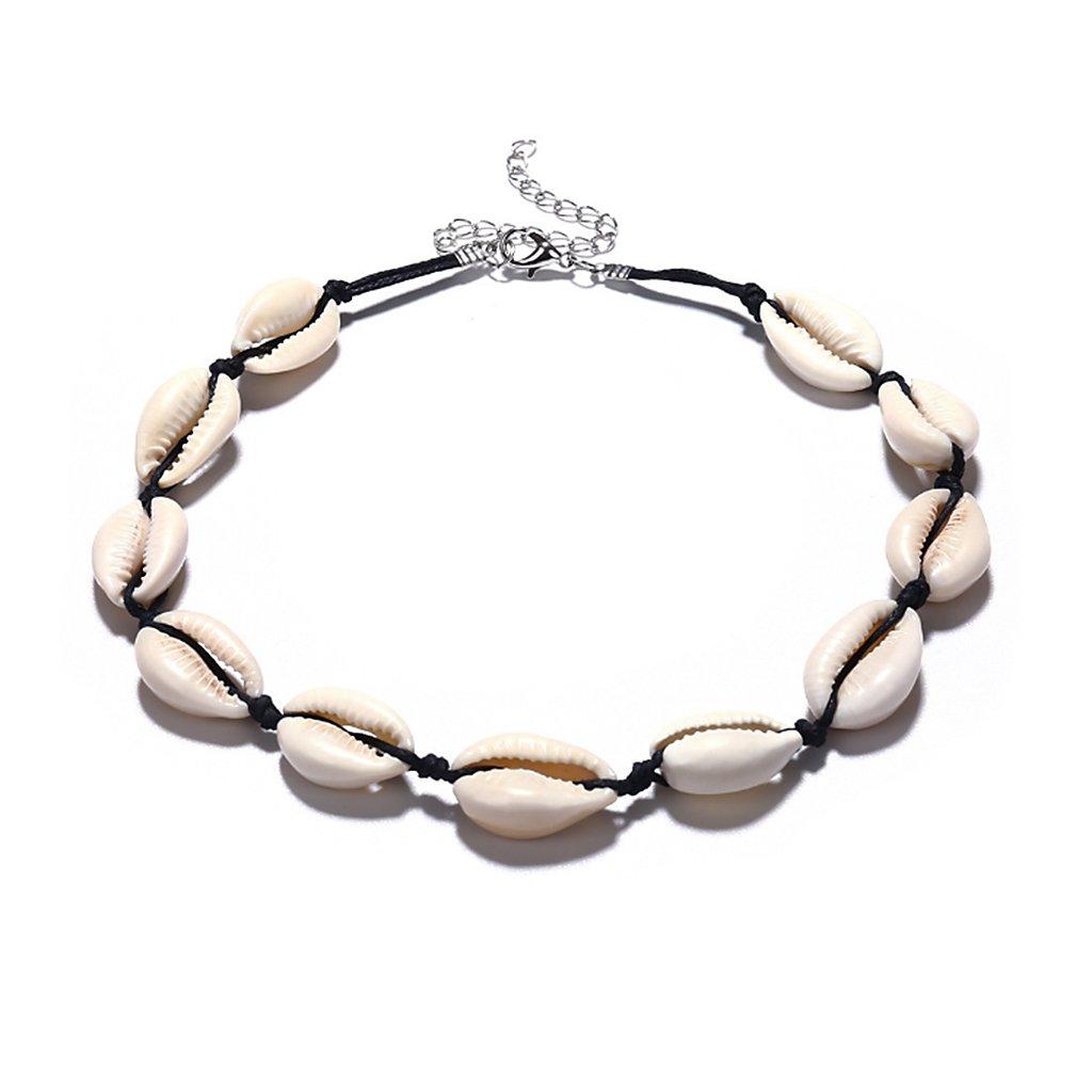 Forgun Sea Shell Necklace Choker Chain Handmade Pendant Women Jewelry Natural Fashion (Black)