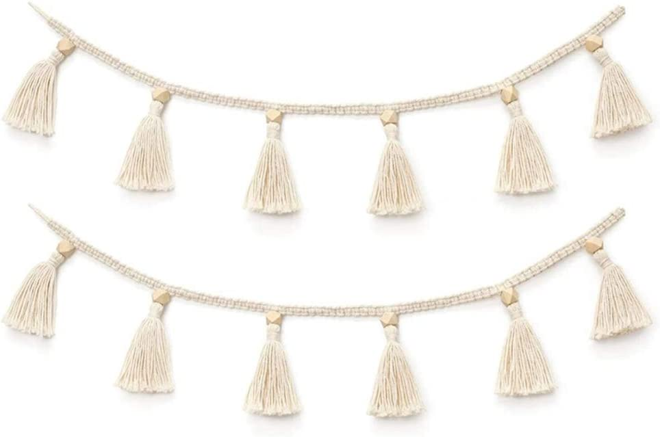 Qiaogeli Macrame Cotton Tassel Garland Tassels Banner with Beads Belly Basket Decorative Wall Hanging Cover for Boho Home Decor, Nursey Room Christmas Decoration, 2 Pack Beige