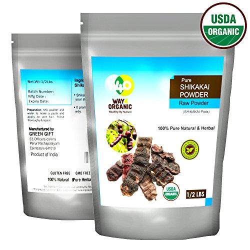 Organic Shikakai Powder, Acacia Concinna (Shikai Powder) - Best Natural Cleanser - 100% USDA Certified Organic - Way4Organic (Half LB - 8 Oz)