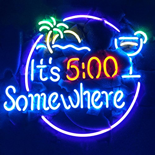- LiQi It's 5:00 Somewhere Real Glass Neon Light Sign Home Beer Bar Pub Recreation Room Game Room Windows Garage Wall Sign (17