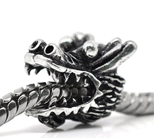 Unique Fashion Charms and Bracelets Dragon Head Halloween Mythology Creature Spacer Charm for European Bead Bracelet
