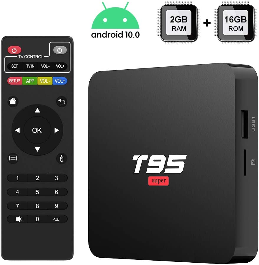 Android 10.0 TV Box, TUREWELL T95 Super TV Box Allwinner H3 Quad-Core 2GB RAM 16GB ROM Media Player, 3D 4K H.265 Smart Android TV Box
