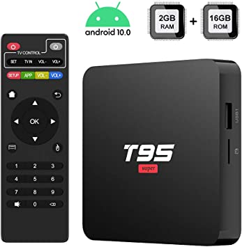 TUREWELL Android 10.0 TV Box 3D 4K H.265 Smart Android TV Box T95 Super TV Box Allwinner H3 Quad-Core 2GB RAM 16GB ROM Media Player