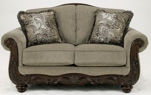 Ashley Furniture Signature Design - Martinsburg Loveseat Sofa - Traditional Style Couch - Meadow with Brown Base Victorian Living Room Set