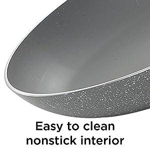 """BLACK+DECKER 83376 Durable Titanium Nonstick Interior Fry Pan, 8"""", Granite"""