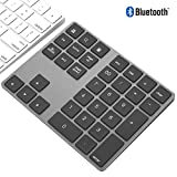 Rechargeable Bluetooth Wireless Numeric Keypad for Laptop, Portable Aluminum 34 Key Shortcuts Digital Entry Number pad Compatible with Apple iMac, MacBook Pro, iPad Pro, Surface (Space Grey)