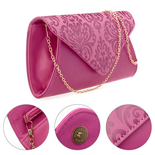 BMC - Cartera de mano de piel sintética para mujer Fuchsia + Pink