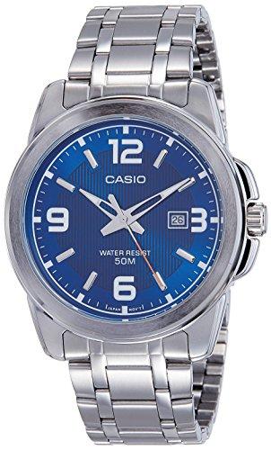 Blue Mens Quartz (Casio Men's MTP1314D-2AV Silver Stainless-Steel Quartz Watch with Blue)