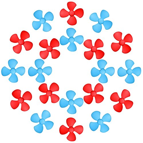 Sumind 20 Pieces Micro DC Motor Shaft Propeller with 4 Vanes Fan Shape Toys for Fan Leaves Ship Model RC Boat DIY Project, Red and Blue
