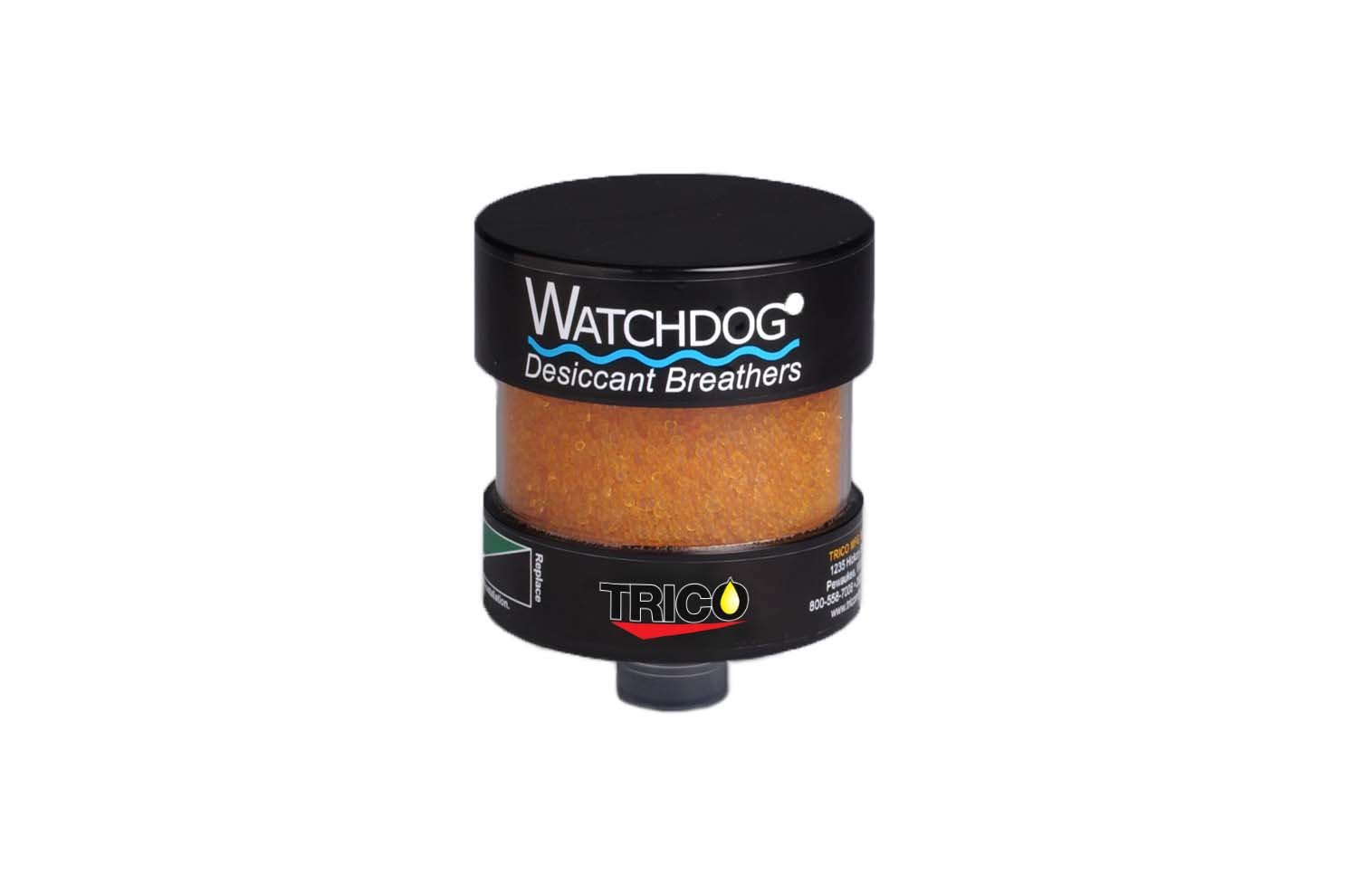 """Trico Watchdog Desiccant Breather, 0.4 lbs Water Capacity, 1"""" Male, 5"""" Diameter x 6-1/4"""" Height"""