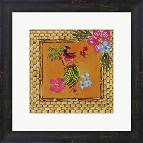 Tiki Girl II by Jennifer Brinley Framed Art Print Wall Picture, Espresso Brown Frame, 15 x 15 inches