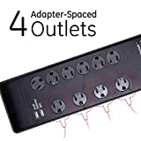 GE UltraPro Surge Protector, 10 Outlet Power Strip, 2 USB Charging Ports, Extra Long 6Ft Extension Cord, 3 Prong, Grounded, Flat Plug, 3000 Joules, UL Listed, Black, 14096
