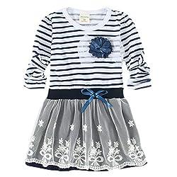 LittleSpring Little Girls' Dresses Striped Size 6 US Brown