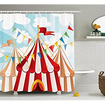 Ambesonne Circus Decor Stripes Sunshines Through Cloudy Sky Traditional Performing Design Pattern Polyester