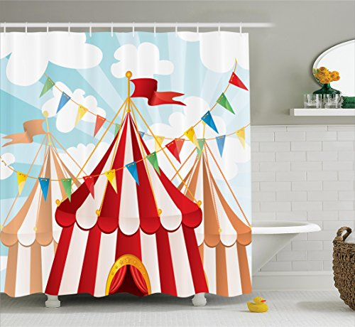 Circus Decor (Circus Decor by Ambesonne, Circus Stripes Sunshines Through Cloudy Sky Traditional Performing Design Pattern, Polyester Fabric Bathroom Shower Curtain, 84 Inches Extra Long, Red White Blue)