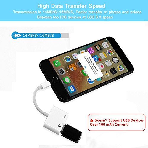 Lightning to USB Camera Adapter, Lightning to USB 3.0 Female OTG Adapter Cable Charging Interface iPhone iPad,No App Required[Support iOS 10.3 Above] by RayCue (Image #6)