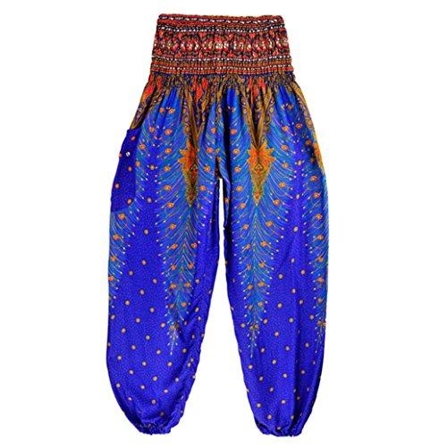 High Waist Yoga Pants,Clearance! AgrinTol Men Women Thai Harem Trousers Boho Festival Hippy Smock Yoga Pants (Free Size, Dark Blue) ()
