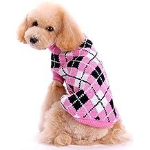 Sunward New Pet Dog Knitting Crochet Clothes ,Autumn Winter Warm Heart Lattice Grid Sweater Knitwear Coat Apparel for Pet Dogs Puppy (Pink, M)