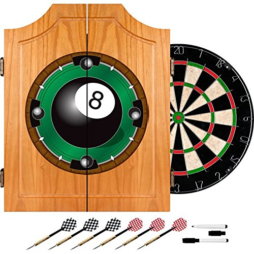 8 Ball Billiards Design Deluxe Solid Wood Cabinet Complete Dart Set by TMG