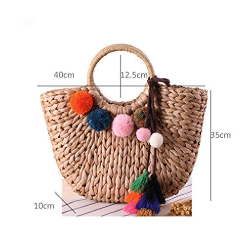Women Large Bag Braided Feminina Rattan Amuele Bag Women's C98 Bolsa Bag Straw Bucket Hand Tassel B Shoulder Tote cUOzIqS