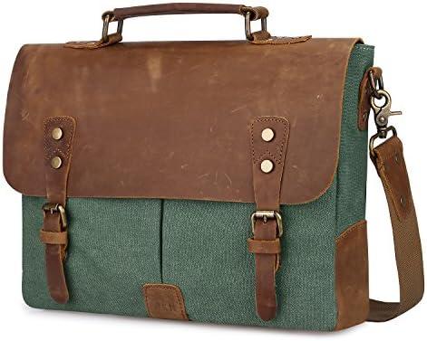 e05ec7607d75 S-ZONE Leather Vintage Canvas Laptop Messenger Bag Adjustable Shoulder  Strap 13.8 x 11 x 3.9 inches