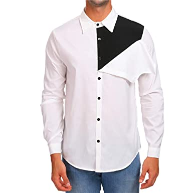 Yvelands Para Hombre Personalidad Camisas con Botones Casual Otoño Slim Fit Patchwork de Manga Larga Blusa Sólida Superior: Amazon.es: Ropa y accesorios