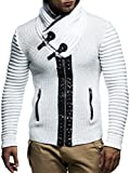 Leif nelon LN5165 Mens Cardigan With Stud Details and Zip Front,Ecru Grey,US-S,EU-M