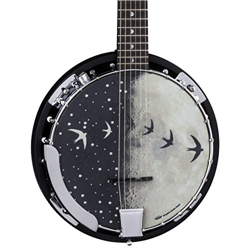 (Luna Moonbird 6-String Acoustic/Electric Banjo, Satin Black )