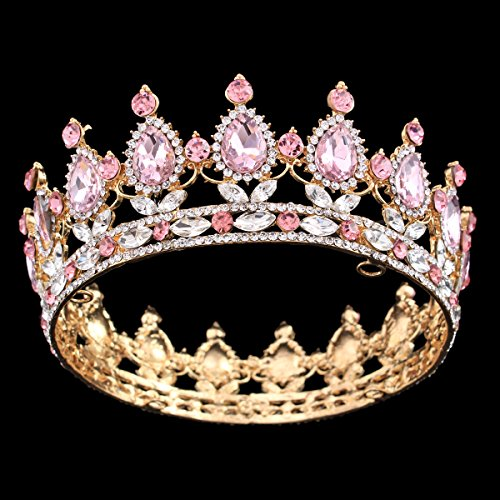 - Ulike2 King/queen Crown Red Ruby Stone Sapphire Tiaras Gold/silver Plated Hair Jewelry (11#)