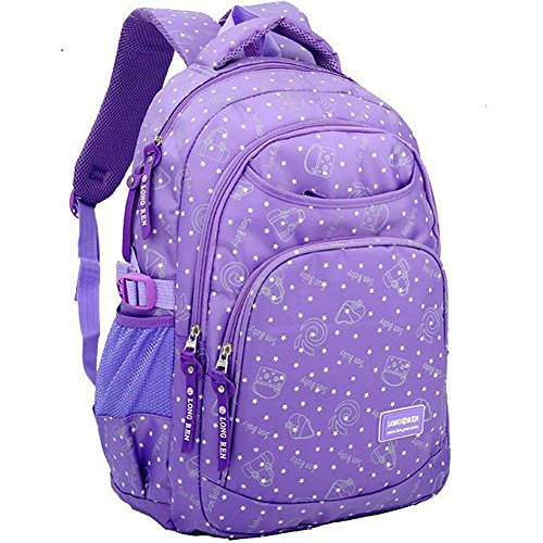 aa1315cf24 Casual Student Backpack School Bag for Teenage Girls and Boys Durable  Camping Backpack Outdoor Daypack (Purple). by lesley ye
