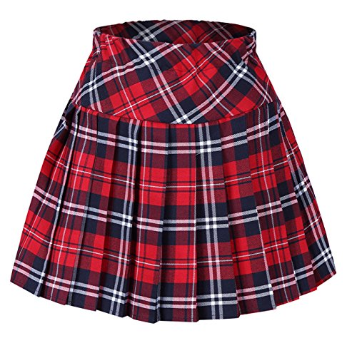 Tremour Girl's Fashion Short Costumes Elasticated Pleat Skirt Red Black S -