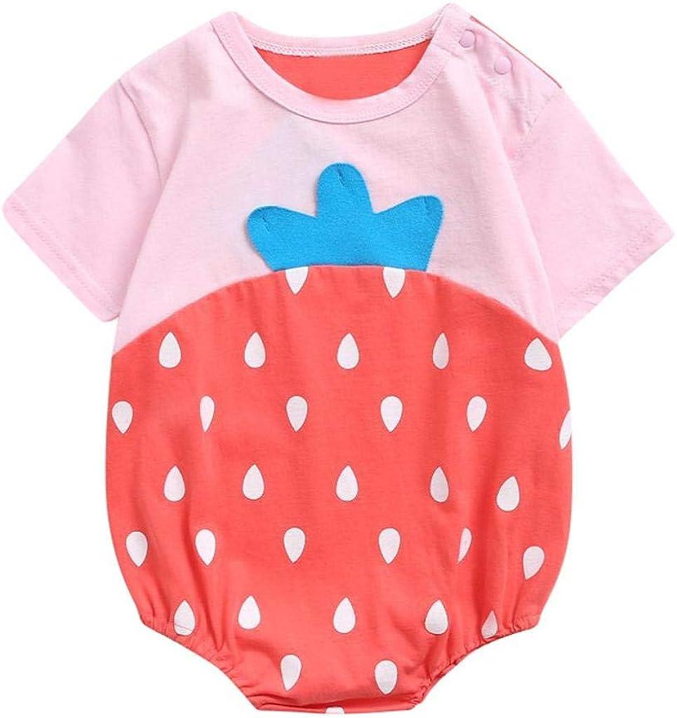 Jimmackey Bambina Neonato Pagliaccetto Fragola Stampa Tutina Manica Corta Estate Bambine Abbigliamento