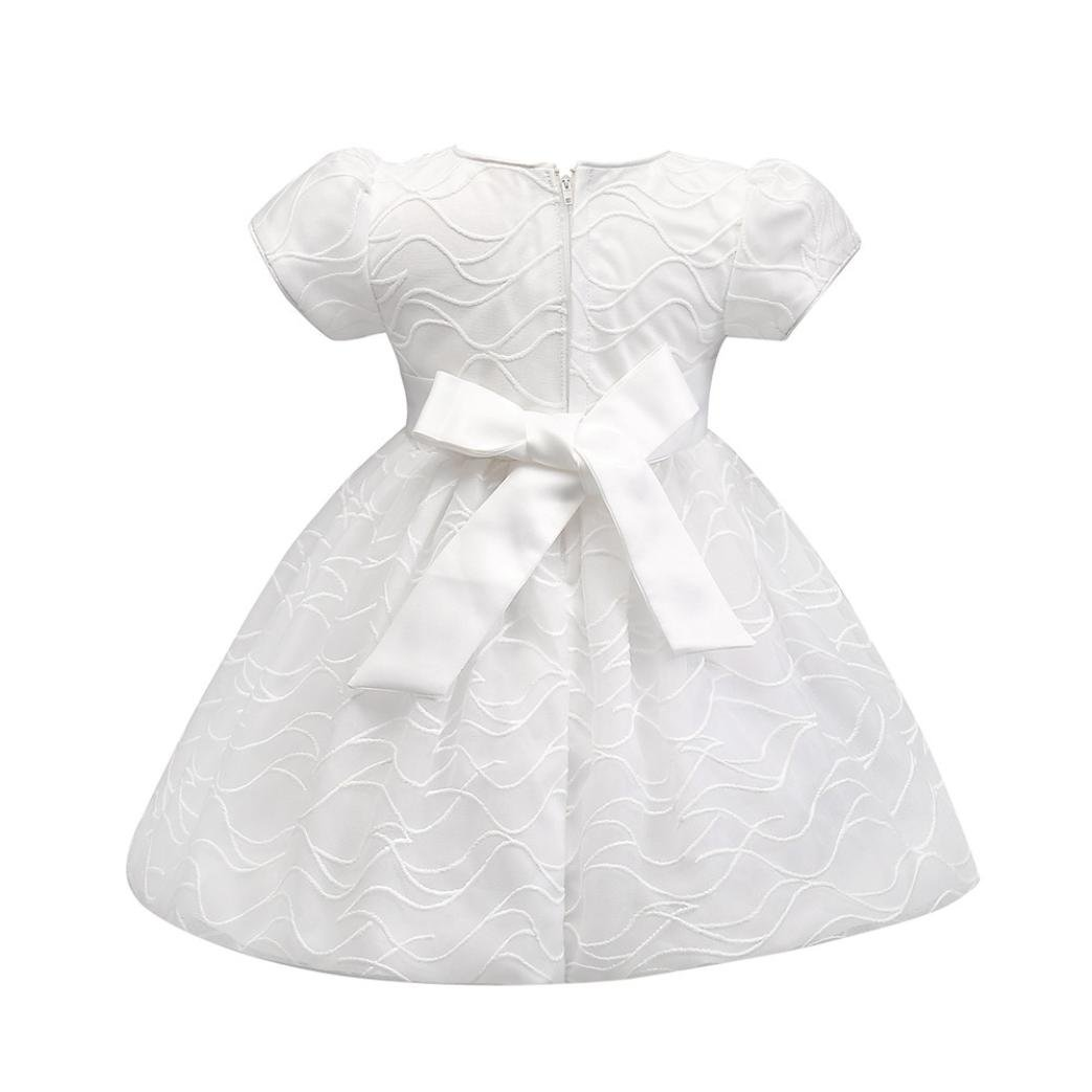 0-6Months, White Esharing Cute Bowknot Flower Solid Pageant Princess Party Dress For Infant Baby Girls
