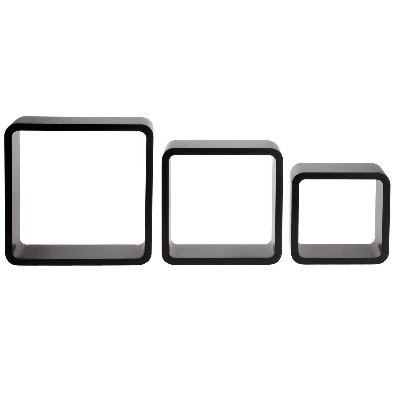 Regal-Set 20x20cm 25x25cm 30x30cm Wandregal H/ängeregal Wandboard Holzregal Regalw/ürfel Multistore 2002 3tlg Farbe:Schwarz in 2 Farben erh/ältlich