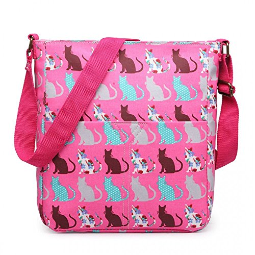 Fashion Cat Matte Pink Cross Handbag Print Body Bag Messenger Oilcloth OTqqp0dw