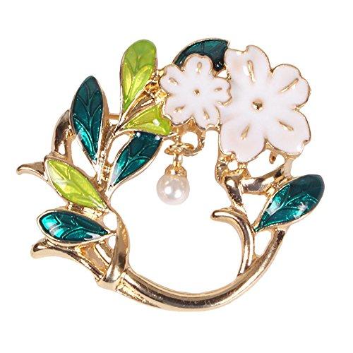 MUZHE Fashion Enamel Leaf Flower Brooch Pin,Magnetic Clip Magnetic Eyeglass Holder Jewelry Thanksgiving (Green Enamel Clip)