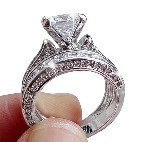 Uscharm 2-in-1 Mnes Rings Vintage White Diamond Silver Engagement Wedding Band Ring Set (A)