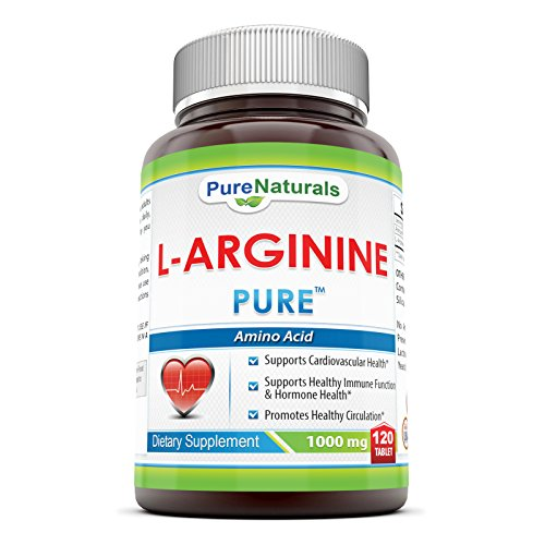 Pure Naturals L Arginine 1000 Mg, Tablets Pharmaceutical Grade Essential Amino Acid Cardiovascular Health Support Formula Enhances Circulation