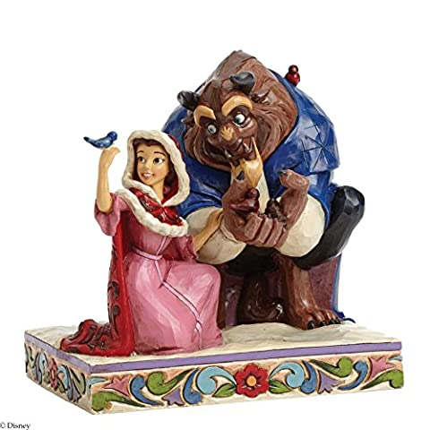 Jim Shore Disney Traditions Belle and Beast in Winter Figurine, 6.25