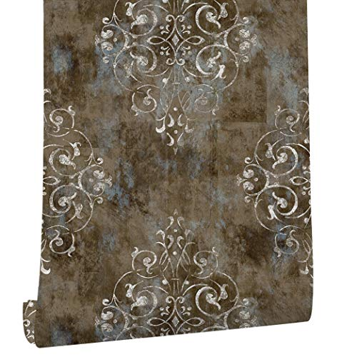 "79604 Vintage French Damask Wallpaper Chocolate/Blue/Khaki for Home Bathroom Kitchen Accent Wall 20.8""x 33ft"