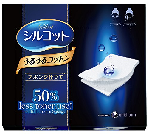 unicharm-silcot-uruuru-sponge-facial-cotton-40-count