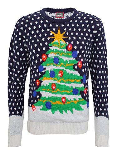 Light Up 3D Mens Knitted Christmas Tree Jumper - Navy/Green - -
