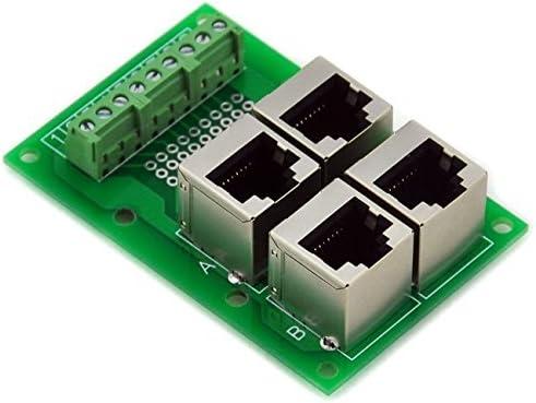 Connector. Terminal Block Electronics-Salon RJ45 8P8C Jack 4-Way Buss Breakout Board