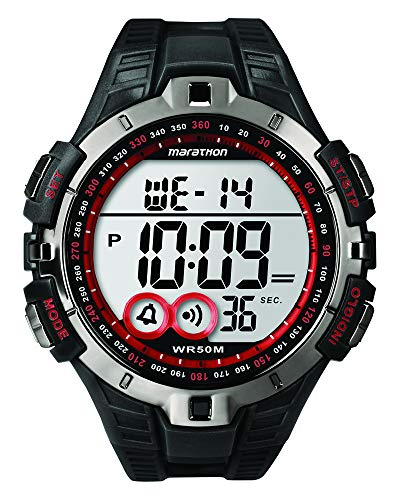 Marathon by Timex Men's Digital Full-Size Black and Red Watc