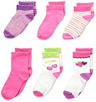 Fruit of the Loom Girls' 6 Pack Crew and Ankle Socks, Assorted, Shoe size: 4-8.5