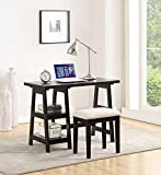 Wooden Writing Desk With 2 Side Shelves And Stool Black